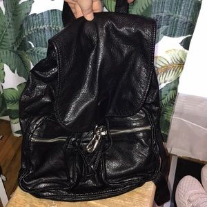 Topshop Faux Leather Black Drawstring Backpack